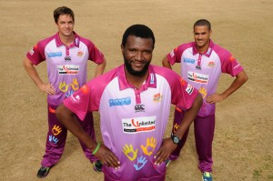 (from left) Albie Morkel, Ethy Mbhalati and Rowan Richards model the new Titans away kit.