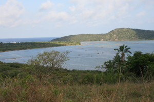 The view over Kosi Bay estuary with the traditional fish traps